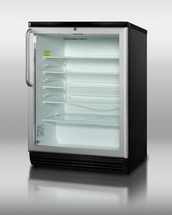 "Summit SCR600BLTBx 24"" Commercially Approved Compact Refrigerator with 5.5 cu. ft. Capacity, Factory Installed Lock, Automatic Defrost, Adjustable Glass Shelves and Glass Door in stainless Steel"