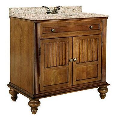 "Kaco Barbados Collection 320-3600 36"" Single Sink Vanity with 2 Doors, Fluted Pilasters and Water Resistant Brown Cherry Finish with x Granite Top"