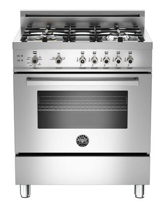 "Bertazzoni PRO304GASX 30"" Professional Series Stainless Steel Gas Freestanding Range with Sealed Burner Cooktop, 3.6 cu. ft. Primary Oven Capacity, Storage"