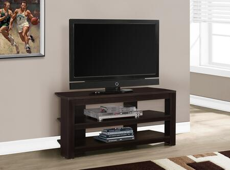 """Monarch I 256X 42"""" TV Stand with 2 Shelves, Contemporary Style and Wood Construction"""