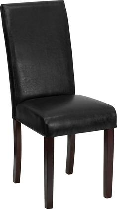 "Flash Furniture 19"" Parsons Side Chair with Mahogany Tapered Legs, CA117 Fire Retardant Foam, Thick High Density Foam Padding and LeatherSoft Upholstery in Ivory Color"
