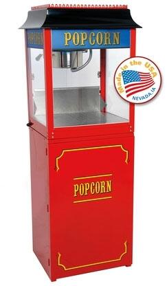 Picture of 1108910KIT1 8-Oz 22 Antique Poppers Original Popcorn Machine with Hard-coat Anodized Aluminum Kettle and Built-in Warming Deck in Red with Premium Red