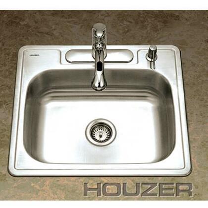 "Houzer 2522-9BSX-1 Glowtone 25"" Stainless Steel Topmount Single Bowl Kitchen Sink: Satin Finish"