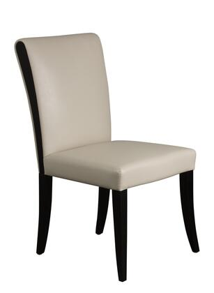 "Diamond Sofa 990DC Set of 2 39"" Dining Room Side Chairs with Leatherette Upholstery and Tapered Wooden Legs in"