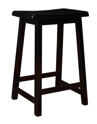 Monarch I153 Barstool (Set of 2) with Comfortable Saddle Seat, Footrest and Distressed Black Finish