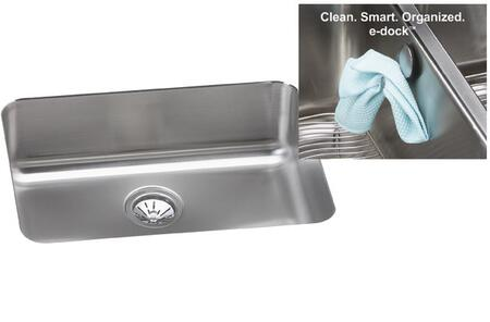 Elkay ELU231710EK Gourmet E-Dock 24-1/2 x 18-1/4 Undermount Single Bowl 18 Gauge Stainless Steel Kitchen Sink