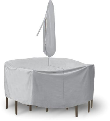 """PCI by Adco 92"""" x 40"""" Round Table and Chair Set Covers with Umbrella Hole, Secured Velcro Ties and Heavy Duty Vinyl Fabric in"""