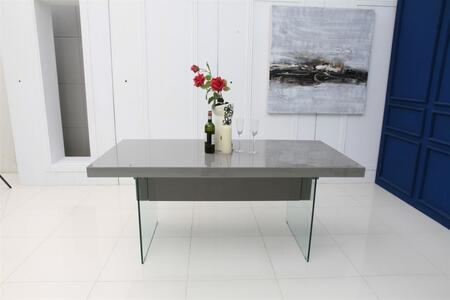 """Casabianca Il Vetro Collection 71"""" Extendable Dining Table with Glass Panels, Medium-Density Fiberboard (MDF) and High Gloss Lacquer in"""