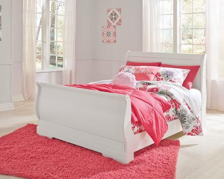 Signature Design by Ashley Anarasia Collection B129-SLEIGHBED Sleigh Bed with Curvaceous Footboard Panel, Minimalistic Design and Visible Bolt Heads in White