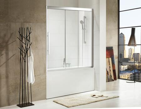 Picture of 0AH7-11206 Torrento - Premium 516 in 8mm Thick Clear Tempered Glass  59 in W x 58 in H  Sliding Shower Door in