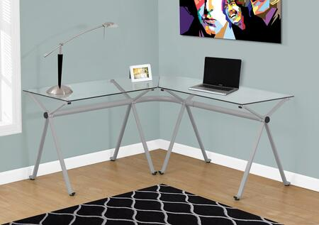 """Monarch I 716Y 48"""" Computer Desk with Metal Frame, """"L"""" Shaped Desk and Tempered Glass"""