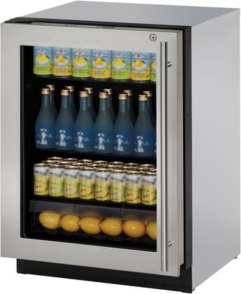 "U-Line U3024RGLx 24"" Modular 3000 Series Glass Door Compact Refrigerator with 4.9 cu. ft. Capacity, 3 Adjustable Glass Shelves, Low-E Coated Triple Thermopane Glass Door, and U-Select, in"
