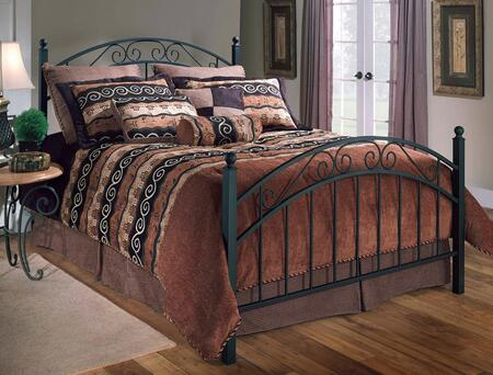 Hillsdale Furniture 114BR Willow Poster Bed Set with Rails Included, Straight Spindles, Scrollwork and Metal Construction in Textured Black Finish