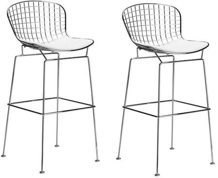 "EdgeMod Morph Collection 47"" Set of 2 Bar Stools with Mid Century Design, Solid Chrome Steel Frame, Plastic Non-Marking Feet and Leatherette Upholstery in"