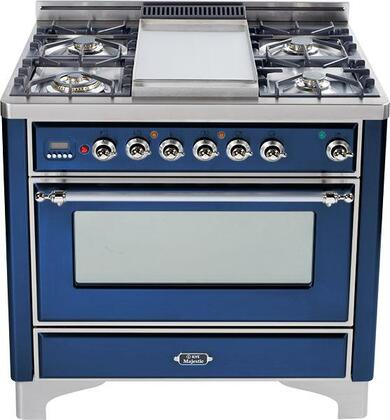 Ilve UMT906VGGBL Majestic Techno Series Midnight Blue Gas Freestanding Range with Sealed Burner Cooktop, 3.55 cu. ft. Primary Oven Capacity, Warming