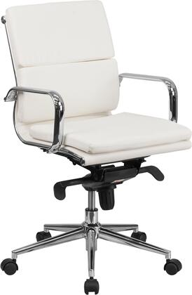 Flash Furniture BT9895MGG Mid-Back Leather Executive Swivel Office Chair with Synchro-Tilt Mechanism