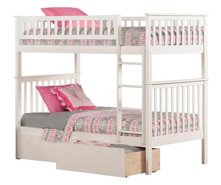 Atlantic Furniture AB5614 Woodland Bunk Bed Twin Over Twin With Urban Bed Drawers