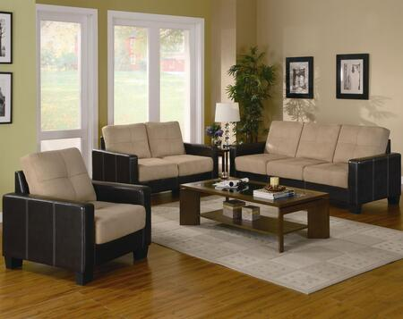 Coaster 500100 Casual Microfiber fabric Living Room Set