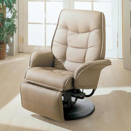 """Coaster Berri 36"""" Swivel Recliner with Plush Tufted Seating, Flared Arms, Reclining Mechanism and Leatherette Upholstery in"""