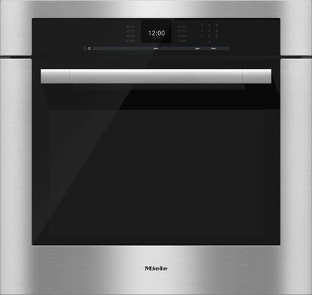 """Miele H 30"""" Single Electric Wall Oven with 4.6 cu. ft. SensorTronic Convection Oven, Self-Cleaning, 18 Operating Modes, Roast Probe and MasterChef Programs in Stainless Steel"""
