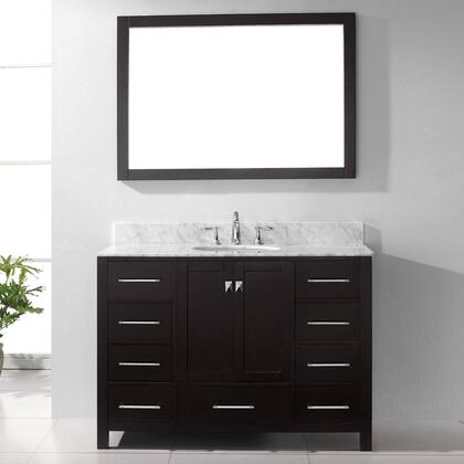 "Virtu USA GS-50048 Virtu USA 48"" Caroline Avenue Single Sink Bathroom Vanity in Espresso with Italian Carrara White Marble"