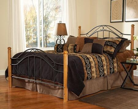 Hillsdale Furniture Winsloh Collection 164BX Size Headboard and Footboard Set with Rounded Finials, Wood Posts and Open Metal Frame Panels in Black and Medium Oak