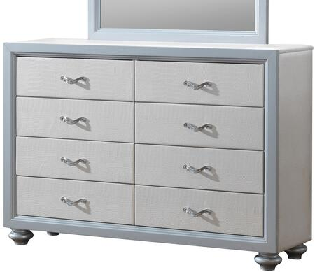 "Glory Furniture 58"" Dresser with 8 Drawers, Metal Hardware, Painted Wood Feet and Textured Finish"