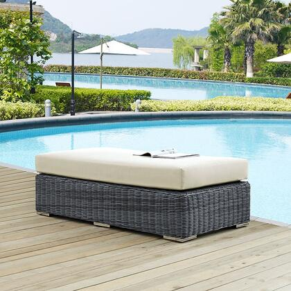 """Modway Summon EEI1877GRY 57.5"""" Outdoor Patio Sunbrella Rectangle Ottoman with Stainless Steel Legs, Two-Tone Synthetic Rattan Weave, UV and Water Resistant in Canvas Color"""
