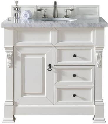 """James Martin Brookfield Collection 147-114-5546- 36"""" Cottage White Single Vanity with Single Soft Closing Door, Two Soft Closing Drawers, Backsplash, Hand Carved Filigrees and"""