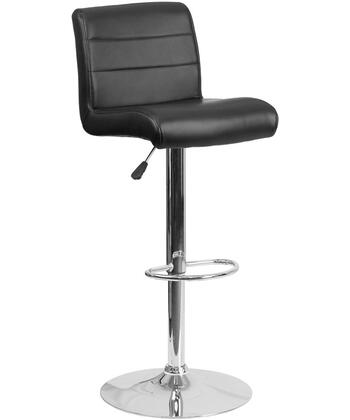 "Flash Furniture DS-8101B 37""-45"" Bar Stool with Vinyl Upholstery, Waterfall Designed Seat, Adjustable Height and Chrome Base in"