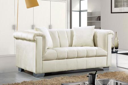 """Meridian Kayla Collection 615X-L 68"""" Loveseat with Velvet Upholstery, Chrome Legs and Contemporary Style in"""