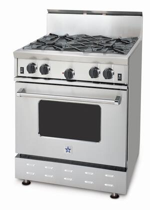 BlueStar RNB304BV1LP  Stainless Steel Liquid Propane Freestanding Range with Open Burner Cooktop, 4.5 cu. ft. Primary Oven Capacity,