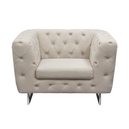 "Diamond Sofa Catalina CATALINACH 44"" Chair with Button Tufting, Chrome Metal Leg and Stitching Details in"