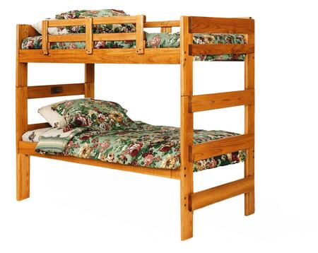Chelsea Home Furniture 366200X Extra Tall Twin Over Twin Loft Bed, Pine Construction, Rustic Style, and Stain Finished in Honey