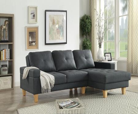 Acme Furniture Goldenrod Bycast Leather Sectional Sofa