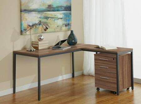 Unique Furniture 1C100019P Parsons L Shaped Desk with Mobile Pedestal