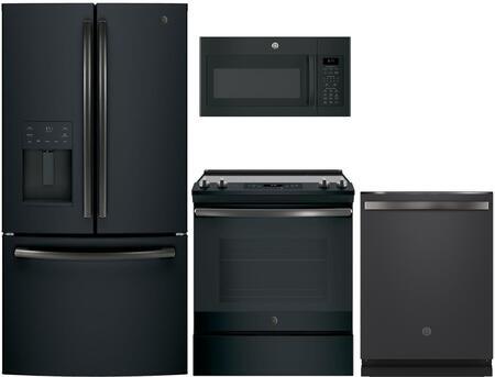 GE 975145 4 piece Black Slate Kitchen Appliances Package