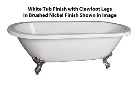 "Barclay ATDR70I Collier 70"" Acrylic Double Roll Top Clawfoot Tub, with White Tub Finish, No Overflow, Imperial Clawfoot Design, , with Clawfoot Finish in"