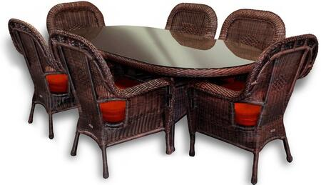 "Tortuga LEX-7DS Lexington 7 Piece Dining Set w/ 6 Dining Chairs and 84"" Dining Table in"