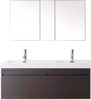 """Virtu USA JD-50355-XX-001 Modern 55"""" Double Sink Bathroom Vanity Set with Brushed Nickel Faucet in"""