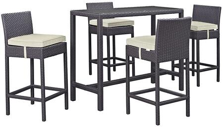 Modway Convene Collection 5 PC Outdoor Patio Pub Set with Clear Glass Table Top, Synthetic Rattan Weave Material, All-Weather Fabric Cushions and Powder Coated Aluminum Frame in Espresso