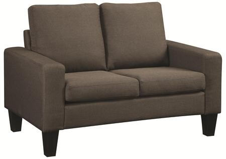 "Coaster Bachman 53"" Loveseat with Track Arms, Tapered Wood Legs and Fabric Upholstery in"