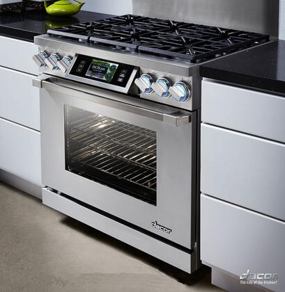 "Dacor DYRP36DSC 36"" High Altitude Slide-In Dual Fuel Range With 5.2 cu. ft Capacity Oven, SoftShut Hinges and 18000 BTU SimmerSear Burner: Color Match"