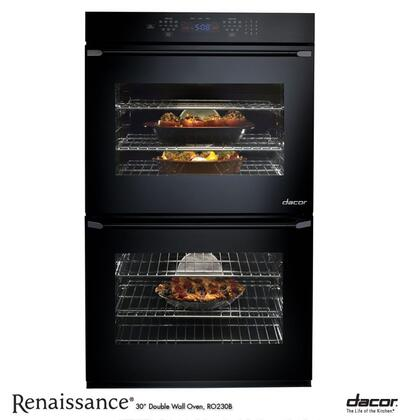 """Dacor Renaissance Series ROV230 30"""" Double Electric Wall Oven with 4.8 cu. ft. Convection Ovens, Self-Clean, RapidHeat Broil, Dehydrate/Proof Settings, Meat Probe and GlideRacks:"""
