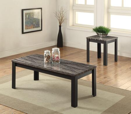 """Acme Furniture Arabia 2 PC Living Room Table Set with 48"""" Coffee Table, 22"""" End Table, Faux Marble Top, Straight and Rectangular Legs in"""