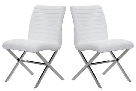Allan Copley Designs 21204602 43x42x14 Sasha Set of Two Dining Chairs With Polished Stainless Steel Frame