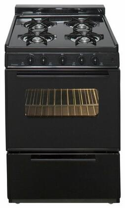 "Premier SCK3XR ADA Compliant 24"" Electronic Spark Gas Range with 3 Cu. Ft. Capacity, Four Cooktop Burners, Lift Up Top, 1.5"" Porcelain Vent Rail Backguard, Windowed Oven Door and Interior Oven Light"