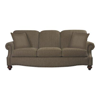 "Bassett Furniture Club Room Collection 3991-6QFC/FC118-x/STD 88"" Queen Sofa Sleeper with Fabric Upholstery, Antique Brass Nail Head Trim and Traditional Style in"