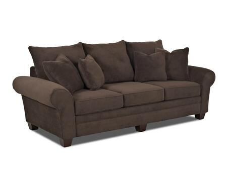 "Klaussner Kazler Collection K57000-S- 100"" Sofa with Rolled Arms, Tapered Block Feet, Four Arm Pillows and Polyester Fabric Upholstery in"