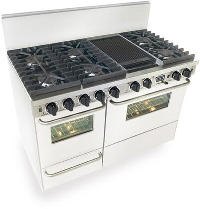 "FiveStar WTN5377W 48""  White Dual Fuel Freestanding Range with Sealed Burner Cooktop, 3.69 cu. ft. Primary Oven Capacity, Broiler"